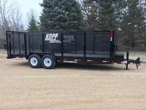 Kopp Concrete custom steel trailer by Rice Lake Fabricating